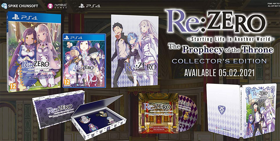 Re zero Prophecy of the thrones edition collector 2020 coffret ps4 steelbook