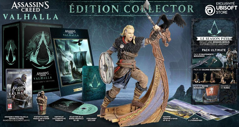coffret collector assassin creed valhalla edition limitee steelbook figurine