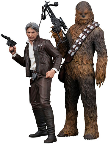 Figurine-collection-Kotobuliya-star-wars-7-edition-limitee-numerotee-Han-solo-Chewbacca