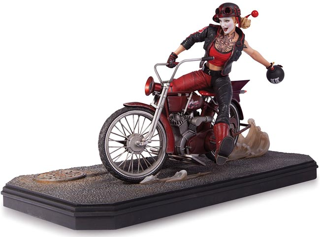 Figurine-collector-Harley-Quinn-edition-limitee-moto-rouge-noir