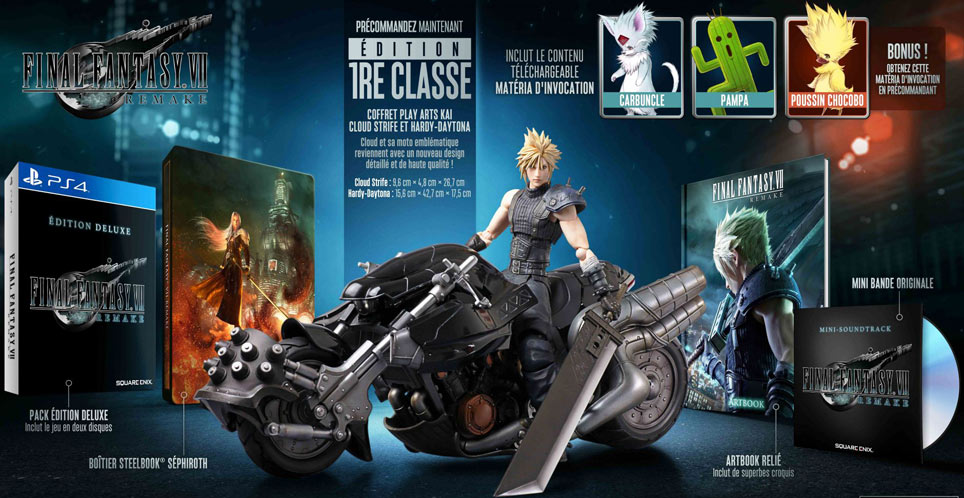 coffret collector final fantasy VII remake ediiton limitee first class figurine moto cloud